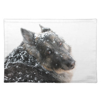 Belgian Shepherd in Snow Placemat