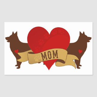 Belgian Shepherd Mom [Tattoo style] Rectangular Sticker