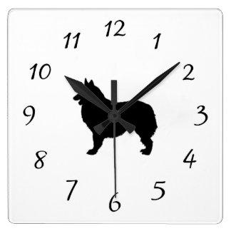 Belgian Shepherd Silhouette Love Dogs Square Wall Clock