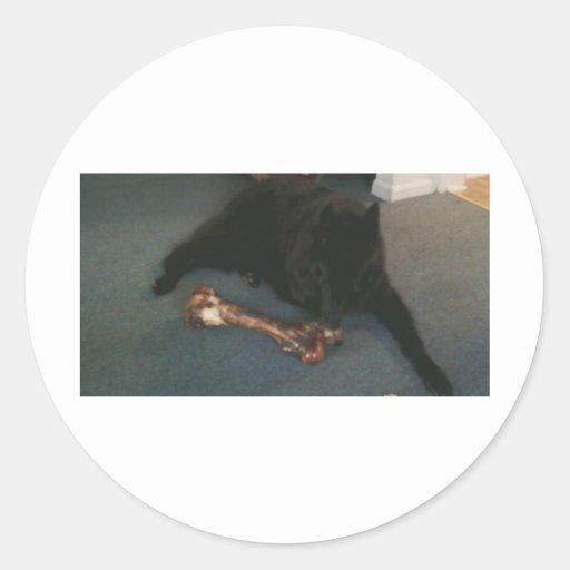 "Belgian Shepherd with a Bone aka ""The Black Wolf"" Classic Round Sticker"