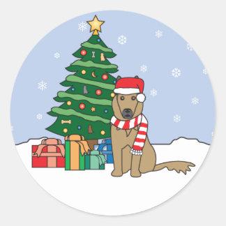 Belgian Tervuren and Christmas Tree Sticker