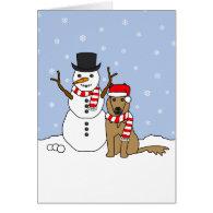 Belgian Tervuren and Snowman Greeting Card