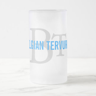 Belgian Tervuren Breed Monogram Frosted Glass Beer Mug