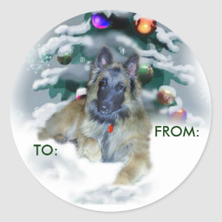 Belgian Tervuren Christmas Gifts, TO:, FROM: Classic Round Sticker