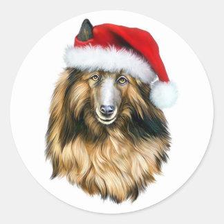 Belgian Tervuren Christmas Santa Round Sticker