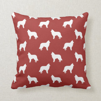 Belgian Tervuren Silhouettes Pattern Red Throw Pillow