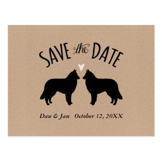Belgian Tervuren Silhouettes Wedding Save the Date Postcard