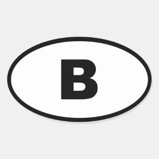 Bélgica - B - europeo Calcomanía Óval Personalizadas