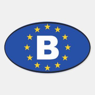 Bélgica - B - unión europea Pegatina Óval Personalizadas