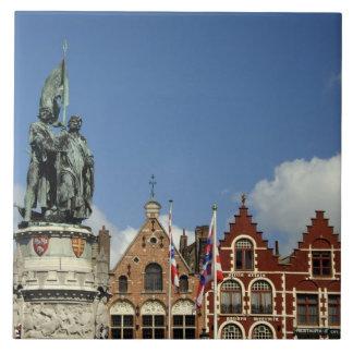 Bélgica, Brujas (aka Brug o Bruge). LA UNESCO Azulejo Cuadrado Grande