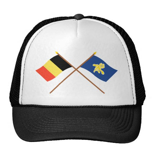 Bélgica cruzada y región de banderas de Bruselas Gorros Bordados