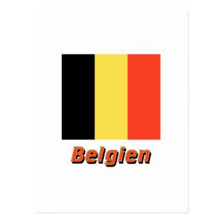 Belgien Flagge mit Namen Postcard