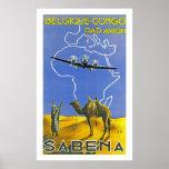 ~ Belgique Congo de Sabena Póster