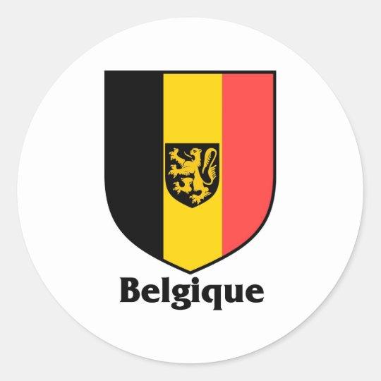 Belgique Crest / Belgium Flag Classic Round Sticker
