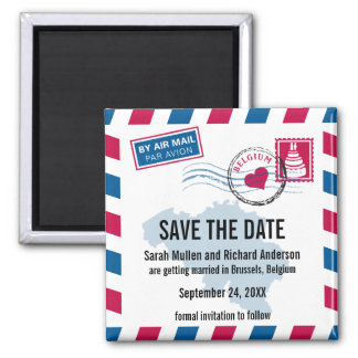 Belgium Air Mail Wedding Save the Date Magnet