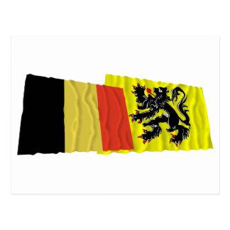 Belgium and Flanders Region Waving Flags Post Card