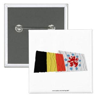 Belgium and German Speaking Community Waving Flags Pinback Button