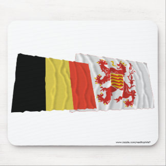 Belgium and Limbourg Waving Flags Mouse Pad