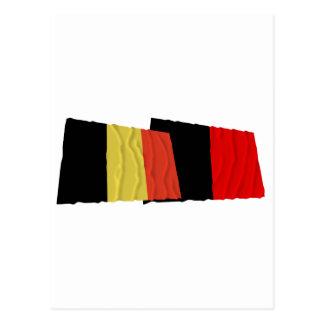 Belgium and Namur Waving Flags Postcard