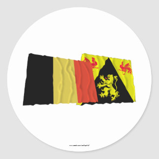 Belgium and Walloon Brabant Waving Flags Sticker