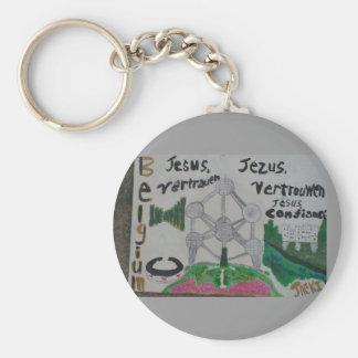 Belgium art keychain/christian! Cheap! Basic Round Button Keychain