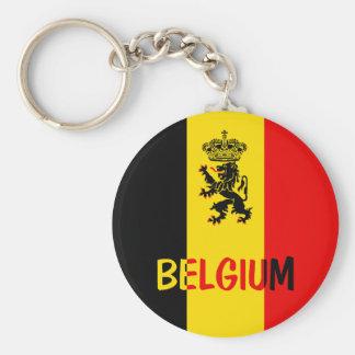 Belgium Basic Round Button Keychain