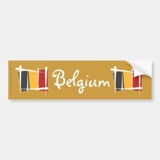 Belgium Brush Flag Bumper Sticker