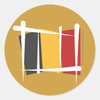 Belgium Brush Flag Classic Round Sticker