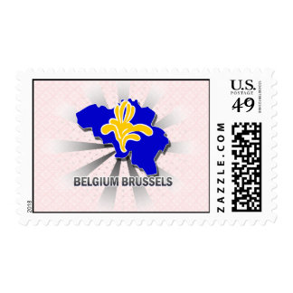 Belgium Brussels Flag Map 2.0 Postage Stamp