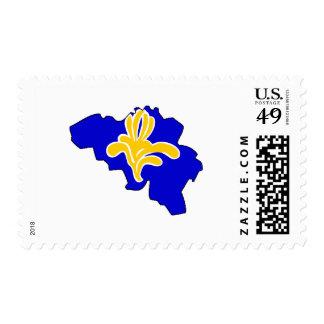 Belgium Brussels flag map Postage