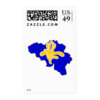 Belgium Brussels flag map Postage Stamp
