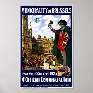 Belgium Brussels Vintage Fair Poster Restored