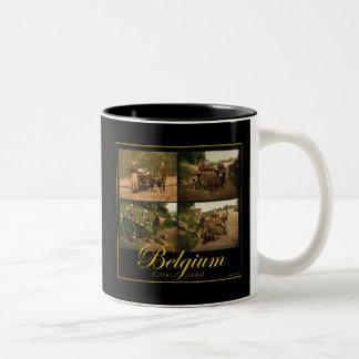 Belgium Dog-Cart Milk Seller Vintage Images Two-Tone Coffee Mug
