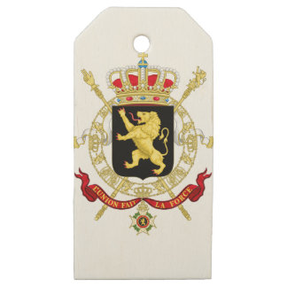 Belgium Emblem Coat of Arms - Armoiries Belgique Wooden Gift Tags