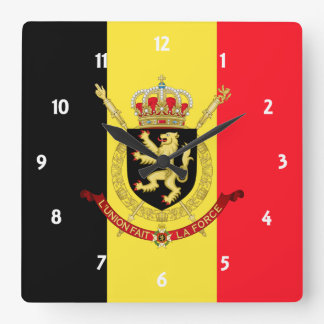 belgium emblem square wall clock