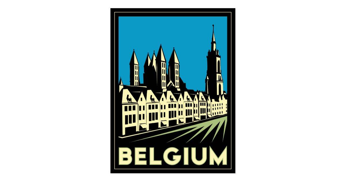 Belgium europe art deco retro travel vintage postcard zazzle - Deco vintage belgique ...