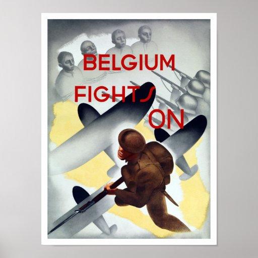 Belgium Fights On -- WW2 Print