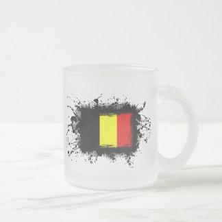 Belgium Flag Frosted Glass Coffee Mug