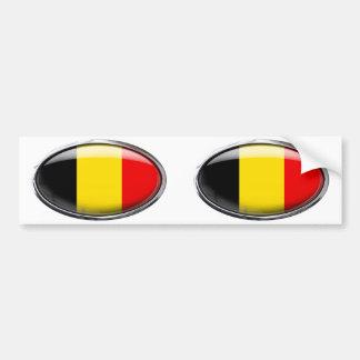 Belgium Flag Glass Oval Bumper Sticker