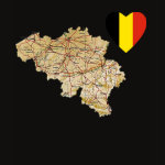 Belgium Flag Heart Map Fitted AA T-Shirt