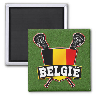 Belgium Flag Lacrosse Logo Fridge Magnet