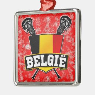 Belgium Flag Lacrosse Logo Metal Ornament