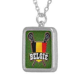Belgium Flag Lacrosse Logo Custom Necklace