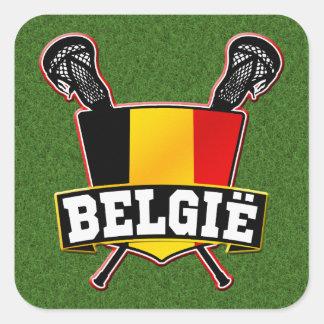 Belgium Flag Lacrosse Logo Square Sticker