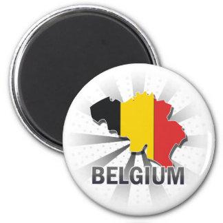 Belgium Flag Map 2.0 2 Inch Round Magnet