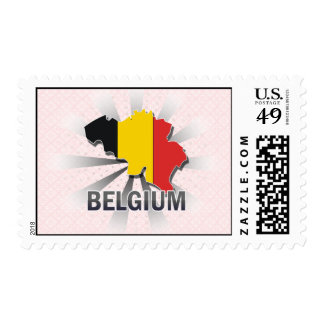 Belgium Flag Map 2.0 Postage Stamps