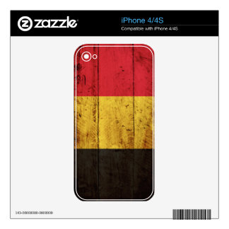 Belgium Flag on Old Wood Grain Skin For The iPhone 4