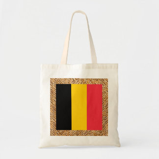 Belgium Flag on Textile themed Budget Tote Bag