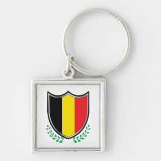 Belgium Flag Shield w/ Laurels Single-Sided Square Keychains