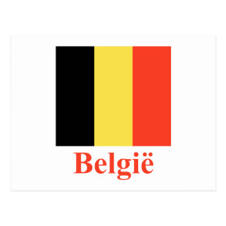 Belgium Flag with Name in Dutch Postcard